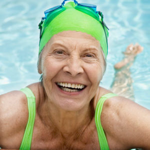 Older woman enjoying swimming